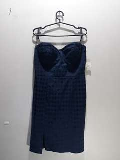 Forever 21 Tube Dress Navy Blue with Black Accents
