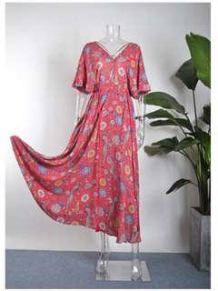 Cast your spell in this gypsy print Lovebird gown dress rose