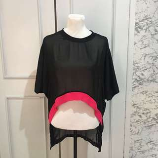 Black Sheer Top/ Cover up fits up to Semi L