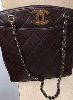 Chanel lampskin shoulder bag - maroon
