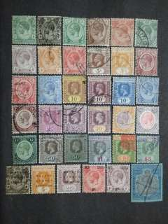 Straits Settlements 1912 1921-1933 King George V Set Up To $25 With Overprint Malaya Borneo Exhibition & Red Cross 2c - 36v Used & Mint Malaya Stamps
