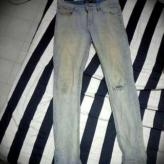 Cotton On Faded Ripped Denim Skinny Jeans
