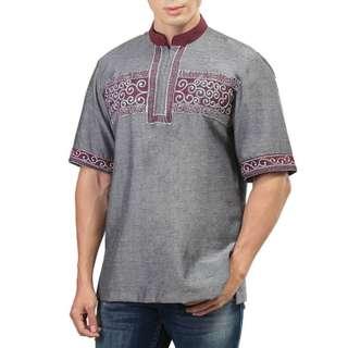 Baju Koko Pria Lengan Pendek Abu
