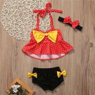 Baju Renang Bikini Anak Bayi Lucu Mini Mouse Swimwear Swimsuit Bikini