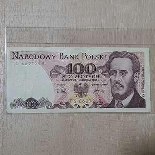 1988 Poland 100 Zlotych Banknote