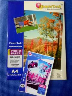 Pioneer tech Life-like Photo Paper (silk texture)  220gsm