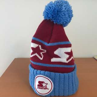 New Starter, Blue White and Red beanie hat