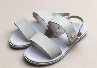 All white Two Band Sandals