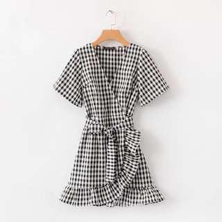 [PO] Gingham Ruffled Dress