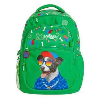 Authentic Smiggle Backpack Cool Doggo color Green School Bag