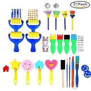 21pcs Art and Craft Paint Brushes Sponge Stamps Painting Tools Kit
