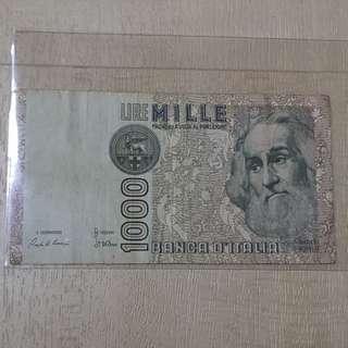 1982 Italy 1000 Lira Banknote