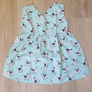 Brand New Handmade Premium V-Neck Zipper Back Dress –  Moo Moo Cow Print