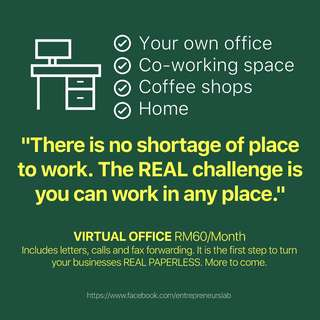 New Virtual Office for Businesses - KL Address, RM60/Month. Free One Month.