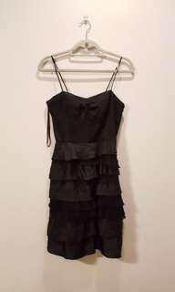 ARMANI EXCHANGE Black Strappy Ruffle Dress