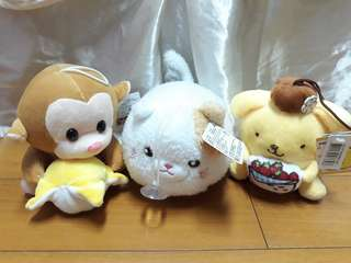 玩偶/娃娃 三隻布丁狗 猴子香蕉 小貓