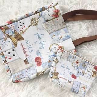 CUSTOM TOTE BAG CANVAS POUCH alice in wonderland