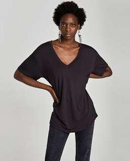 Zara Black V- Neck T Shirt