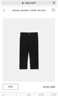 Zara Jeans Skinny Capri Black