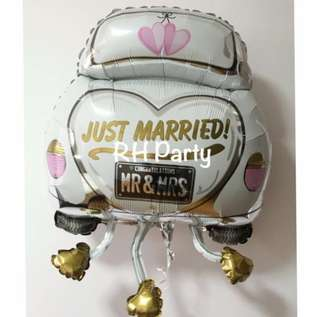 (12/4) Include Helium Wedding Car / just married / Engagement / ROM / Bride Groom Foil Balloon