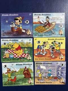 格林達 迪士尼郵票 各主角系列 6全 外國郵票 唐老鴨 小木偶 維尼Winnie the Pooh