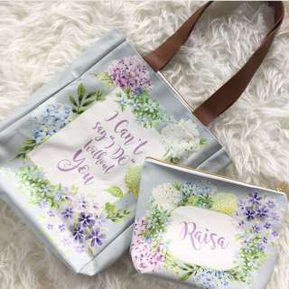 CUSTOM TOTE BAG CANVAS POUCH floral