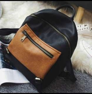 復古雙配色外袋後背包