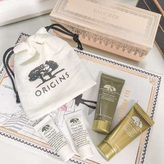Origins Skincare Travel Set • Planscription anti aging power serum 15ml • Planscription Powerful Lifting Overnight Mask • three part harmony foaming cleanser • pouch