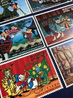 馬爾代夫 迪士尼郵票 米奇唐老鴨遊中國系列 6全