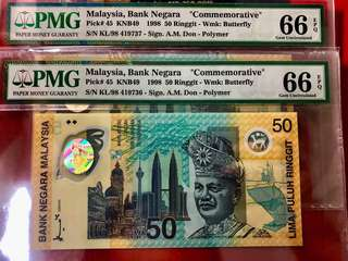 SUKOM COMMEMORATIVE RM50 - KL/98 419736/37 - PMG66 - 80/EACH