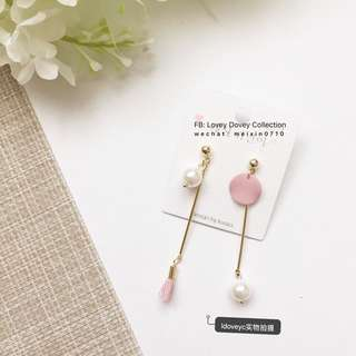 Korea Asymmetric earring with pearl