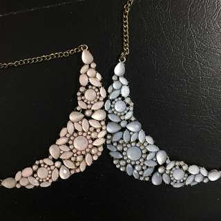 F21 Beaded Necklace Pink & Blue