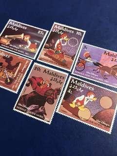1961馬爾代夫 迪士尼郵票 原始唐老鴨