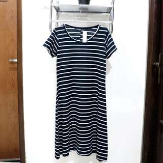 Navy Blue Stripe Dress
