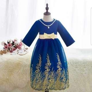 Qizi jubah lace emas dan crystal bead kid hijab