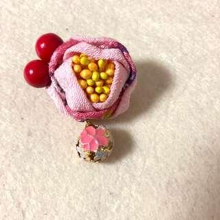 手作 和風三重花含花蕊 花珠鈴鐺 胸針 日本和服