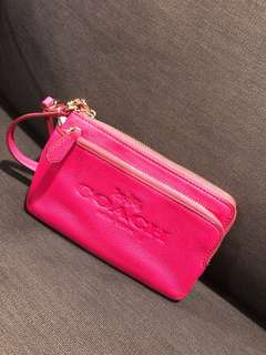 Authentic Coach pink wristlet