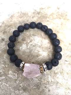 Lava With Raw rose Quartz diffuser bracelet