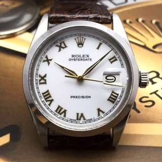 SOLD-     34mm Rolex Oysterdate Roman Gloss White