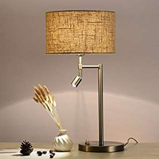 201. Onepre Modern Chrome Bedside Table Lamp Desk lamp with Swing Arm Led Reading Light for Living Room, Study and Bedroom, Office, 2 Switches