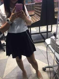 White top-black skirt