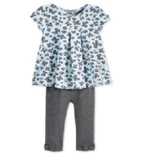 Macy's First Impression Baby Girls' 2 pcs Jacquard Tunic and Bow Leggings Set 3-6 months