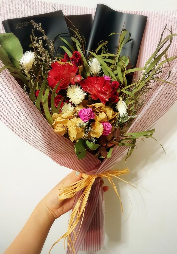 乾燥花 花束 母親節 情人節 禮物 包裝  索拉花 葉子