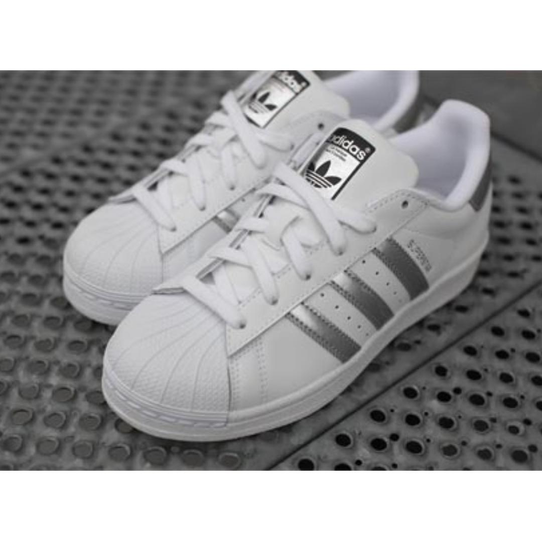 adidas originals superstar weiß / silber, preloved damenmode