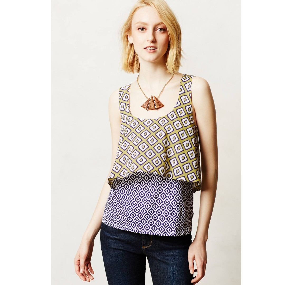 Anthropologie Meadow Rue Ikat Print Layered Tank top Size L large blouse