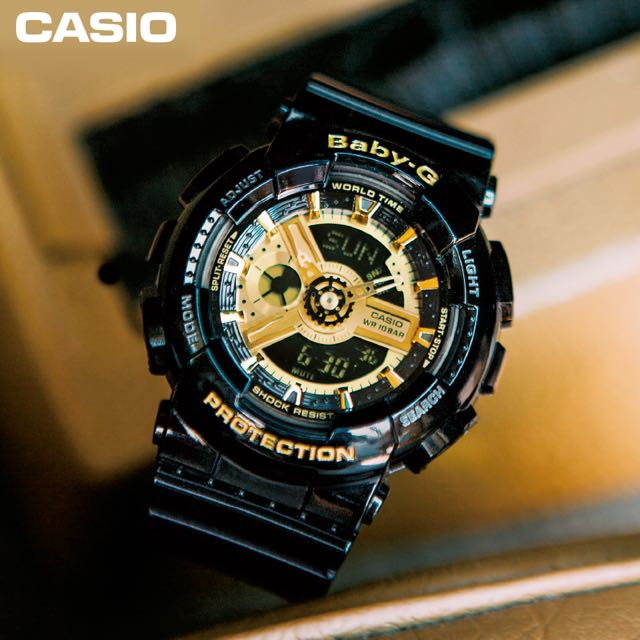 2046ee458e48 Authentic Brand New Casio Baby G BA-110-1A Gold Black Gold Ladies ...