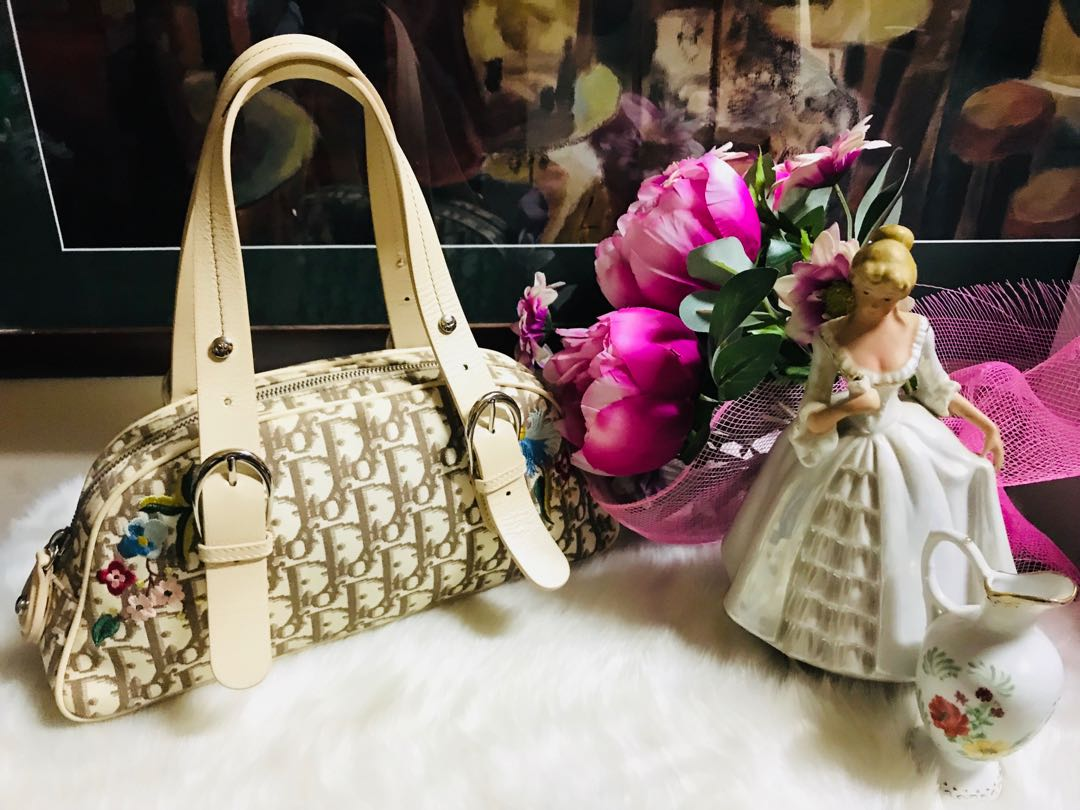 Authentic Christian Dior Trotter Pattern Canvas Poach Bag