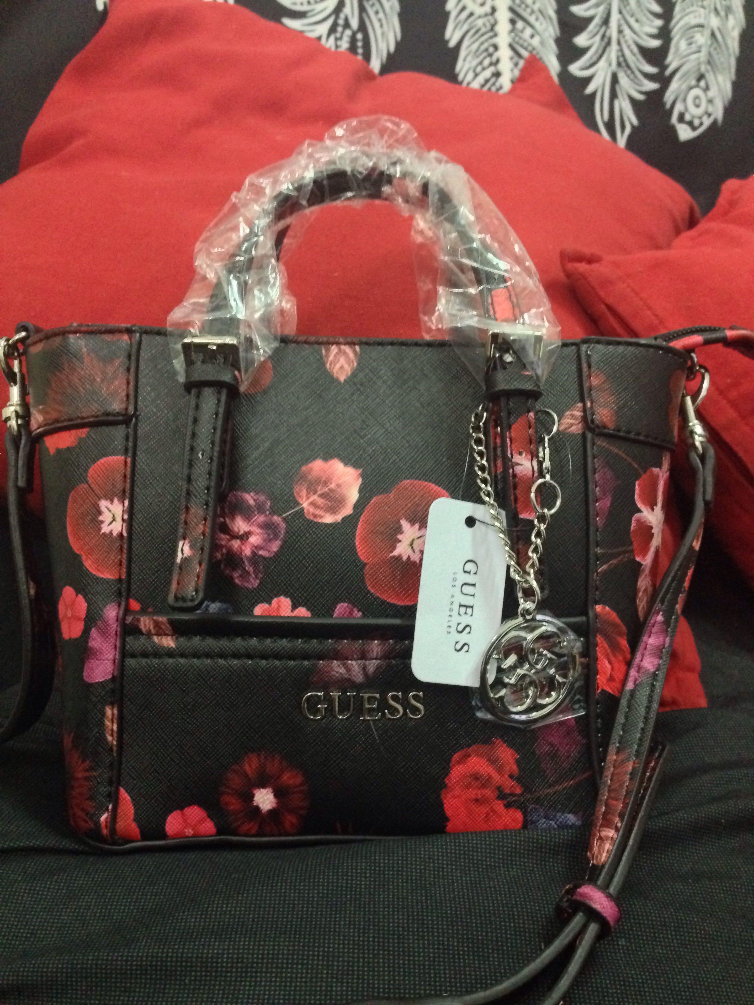 AUTHENTIC GUESS DELANEY Floral-print Mini Crossbody Tote Handbag ... ca712b74fc5e2