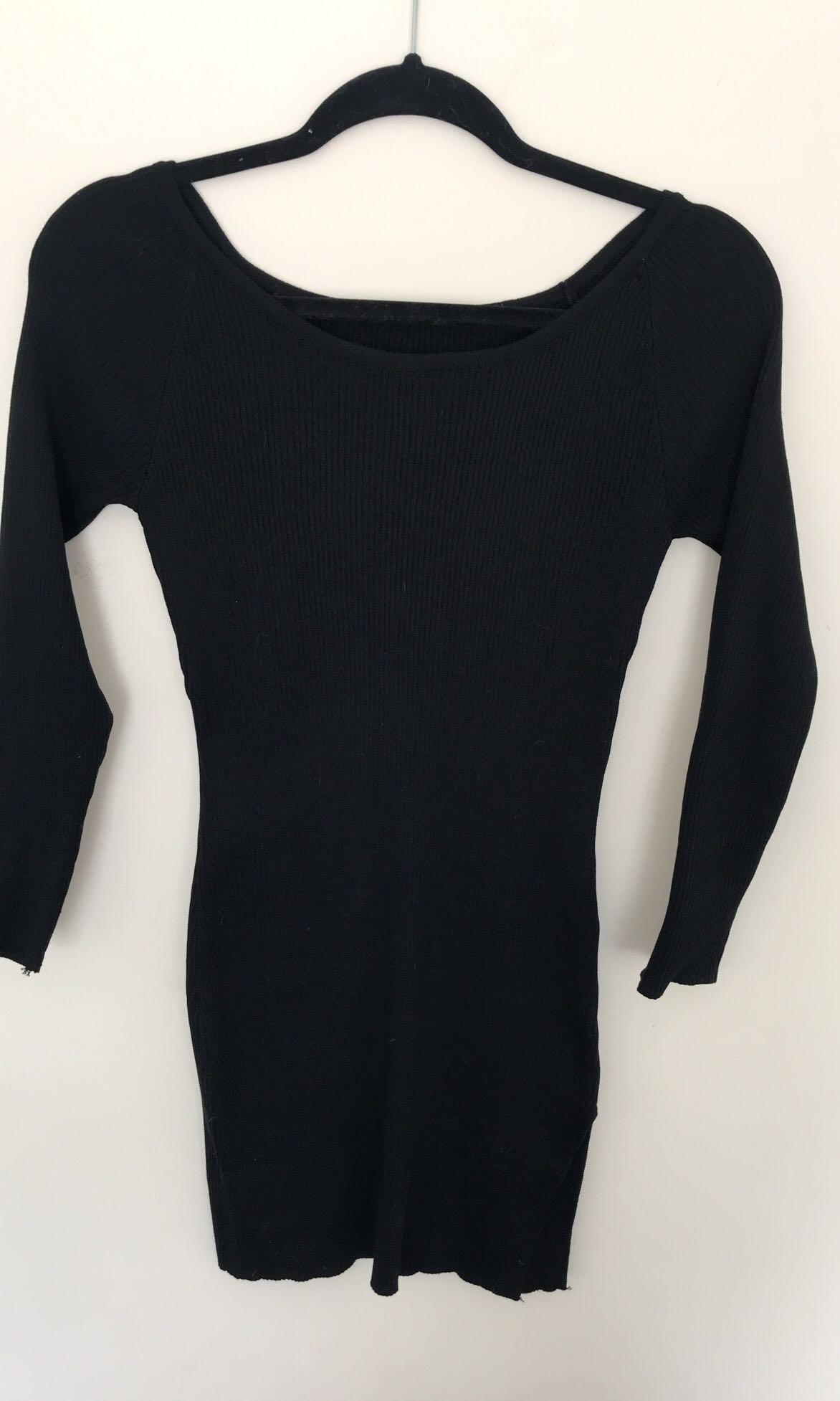 Black long sleeve split dress