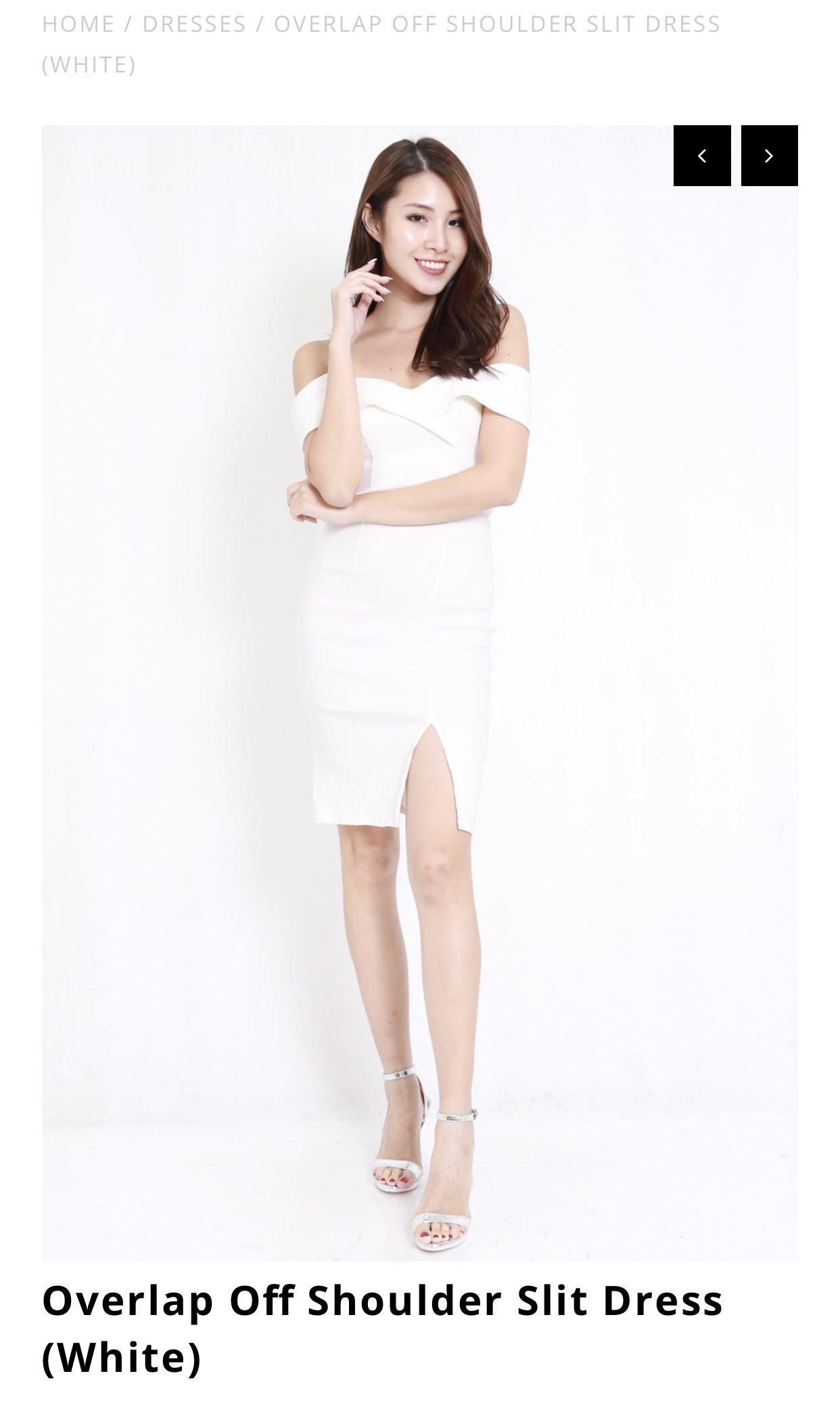 9926117f54 Carrislabelle Overlap Off Shoulder Slit Dress, Women's Fashion ...